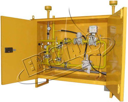 ГРПШ с одной линией редуцирования, байпасом и узлом учета расхода газа