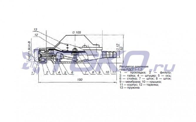 Регулятор давления диапазон настройки выходного давления 0,001 - 0,06 МПа